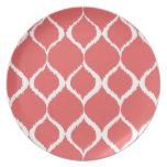 Coral Pink Geometric Ikat Tribal Print Pattern Plates