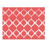 Coral Pink Geometric Ikat Tribal Print Pattern Postcard