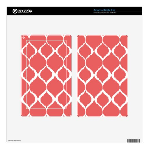 Coral Pink Geometric Ikat Tribal Print Pattern Decals For Kindle Fire