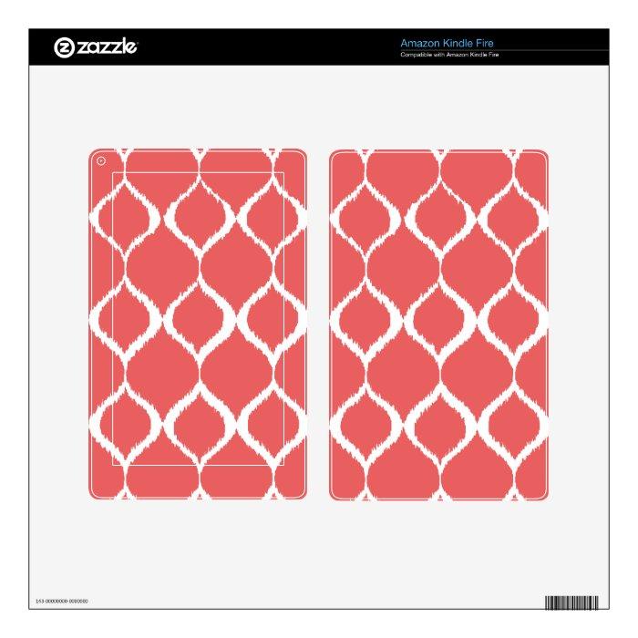 Coral Pink Geometric Ikat Tribal Print Pattern Skin For Kindle Fire
