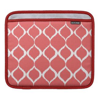 Coral Pink Geometric Ikat Tribal Print Pattern Sleeve For iPads