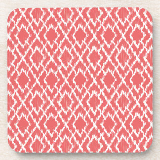 Coral Pink Geometric Tribal Ikat Diamond Pattern Coaster