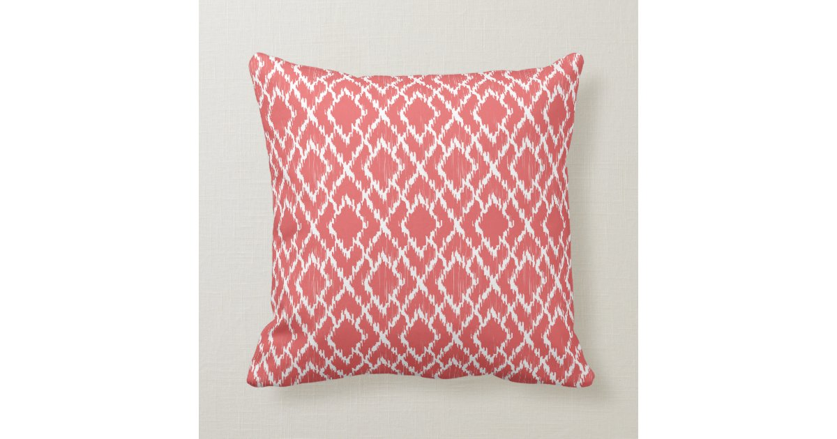 Coral Pink Throw Pillows : Coral Pink Geometric Tribal Ikat Diamond Pattern Throw Pillow Zazzle