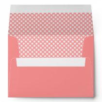 Coral Pink Gingham Envelopes
