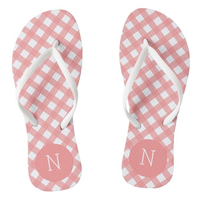 Coral Pink Gingham Print Monogrammed Flip flops