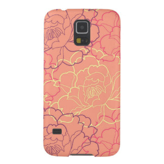 Coral pink girly floral rose flowers chic pattern galaxy s5 cases