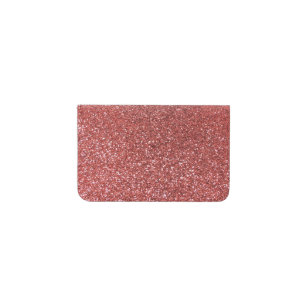 Coral pink glitter business card holder