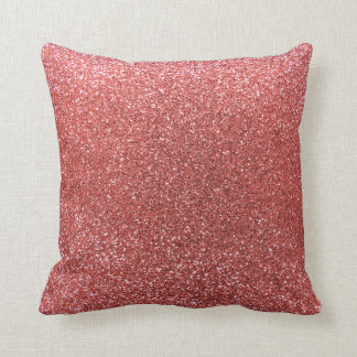 Coral pink glitter throw pillow