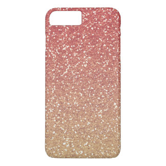 Coral Pink Gold Faux Glitter iPhone 7 Plus Case