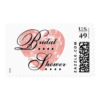 Coral Pink Grunge Heart Bridal Shower A04 Postage