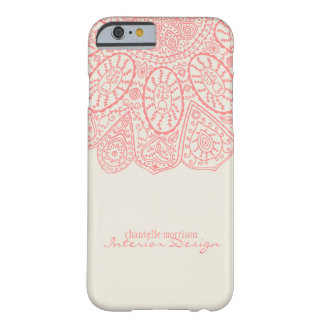 Coral Pink Hand Drawn Henna Circle Pattern Design Barely There iPhone 6 Case