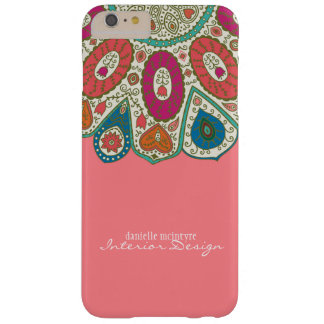 Coral Pink Hand Drawn Henna Circle Pattern Design Barely There iPhone 6 Plus Case