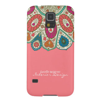 Coral Pink Hand Drawn Henna Circle Pattern Design Case For Galaxy S5