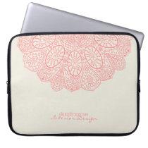 Coral Pink Hand Drawn Henna Circle Pattern Design Computer Sleeve