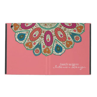 Coral Pink Hand Drawn Henna Circle Pattern Design iPad Folio Case