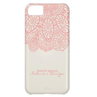 Coral Pink Hand Drawn Henna Circle Pattern Design iPhone 5C Case