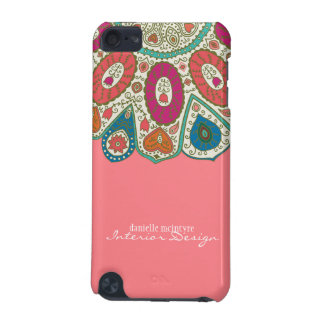 Coral Pink Hand Drawn Henna Circle Pattern Design iPod Touch (5th Generation) Case