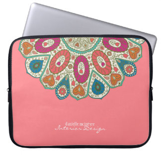 Coral Pink Hand Drawn Henna Circle Pattern Design Laptop Sleeves