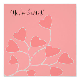 Coral Pink Heart Valentine Party Invitation