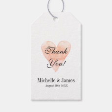 Coral pink heart wedding thank you favor gift tags