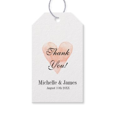Valentines Themed Coral pink heart wedding thank you favor gift tags