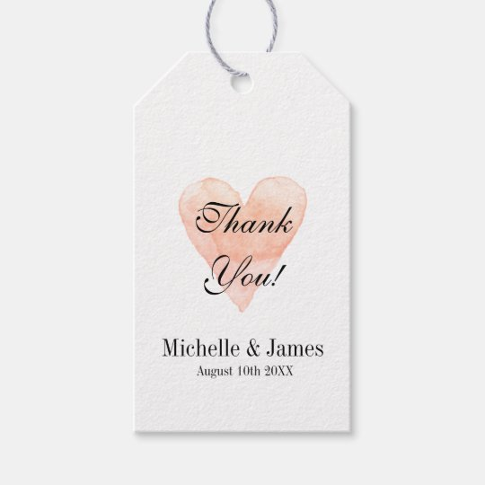 Wedding Thank You Gift Tags: Coral Pink Heart Wedding Thank You Favor Gift Tags