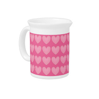 Coral pink hearts, deeper pink background pitcher