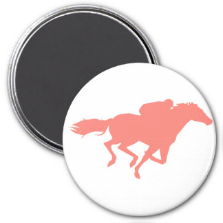 Coral Pink Horse Racing 3 Inch Round Magnet
