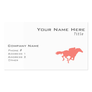Coral Pink Horse Racing Double-Sided Standard Business Cards (Pack Of 100)