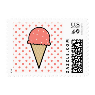 Coral Pink Ice Cream Cone Postage Stamp