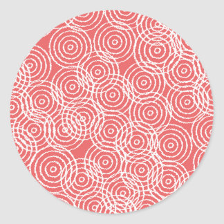 Coral Pink Ikat Overlap Circles Geometric Pattern Classic Round Sticker