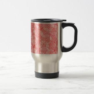 Coral Pink Ikat Overlap Circles Geometric Pattern Mug