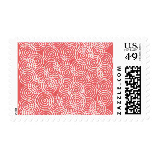 Coral Pink Ikat Overlap Circles Geometric Pattern Postage