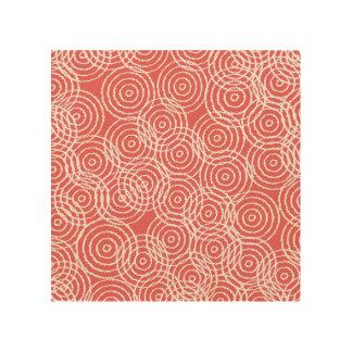 Coral Pink Ikat Overlap Circles Geometric Pattern Wood Wall Art