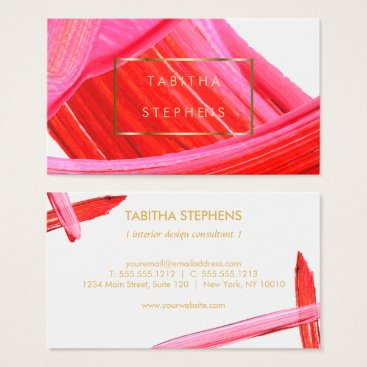 Professional Business Coral Pink Impasto Brushstrokes Designer Business Business Card