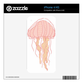 Coral Pink Jellyfish Illustration Skin For iPhone 4S
