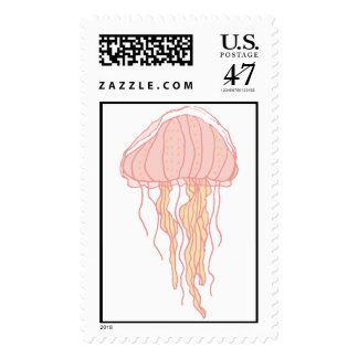 Coral Pink Jellyfish Illustration Stamp