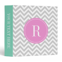 Coral pink mint gray chevron pattern 3 ring binder