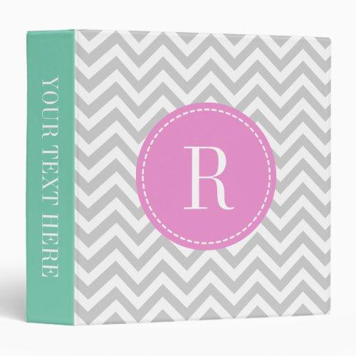 Coral pink mint gray chevron pattern 3 ring binder