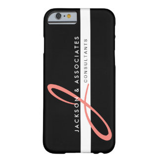Coral Pink Monogram Professional Logo Barely There iPhone 6 Case