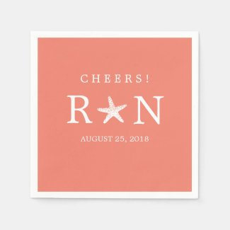 Coral Pink Monogram Starfish | Wedding Paper Napkin
