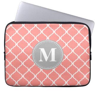 Coral Pink Moroccan Lattice Grey Monogram Computer Sleeve
