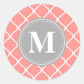 Coral Pink Moroccan Lattice Grey Monogram Sticker