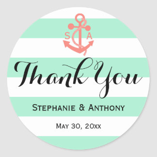 Coral Pink Nautical Anchor and Mint Green Wedding Classic Round Sticker
