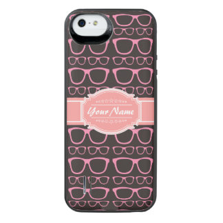 Coral Pink Nerd Glasses Personalized iPhone SE/5/5s Battery Case