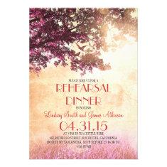 Coral pink oak tree & love birds rehearsal dinner invites