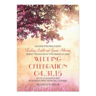 Coral pink oak tree & love birds wedding invites