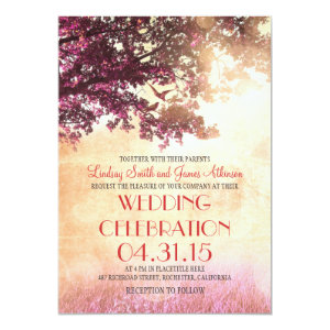 Coral pink oak tree & love birds wedding invites 5