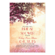 Coral pink old oak tree & love birds bridal shower personalized invitation