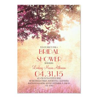 "Coral pink old oak tree & love birds bridal shower 5"" x 7"" invitation card"